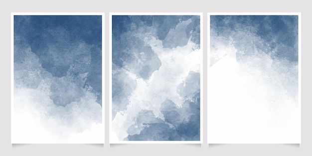 Diepblauwe indigo aquarel nat wassen splash uitnodiging kaartsjabloon collectie