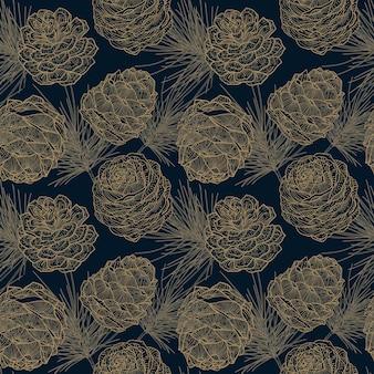 Diepblauwe naadloze patroon van kerst gouden cedertakken en kegels