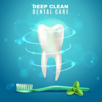 Diepe reiniging tandheelkundige zorg achtergrond poster