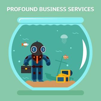 Diepgaande zakelijke dienstverlening. bedrijfsanalist met diepe duik. muntgeld, kwalitatief en moeilijk. vector illustratie