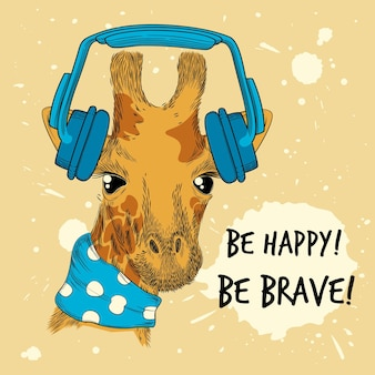 Dier in hoofdtelefoon. pop mode stijl plakkaat grappige hand getekend huisdier muziek headset. illustratie hoofdtelefoon en giraf grappige, coole cartoon