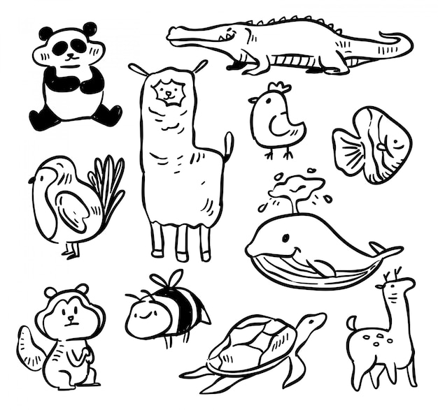 Dier over de hele wereld doodle. vector illustratie