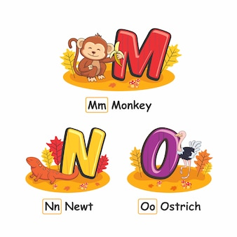 Dieren alfabet herfst aap newt struisvogel