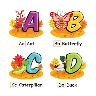 Dieren alfabet herfst mier vlinder rups eend
