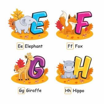 Dieren alfabet herfst olifant vos giraf hippo