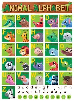 Dieren alfabet onderwijs voor kinderen