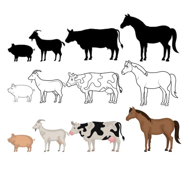 Dieren boerderij binnenlandse pictogram