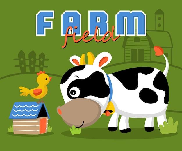 Dieren boerderij cartoon op boerderij veld achtergrond