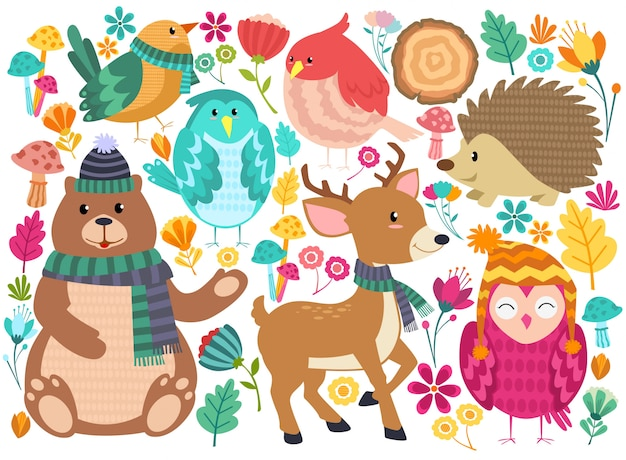 Dieren bos cute cartoon