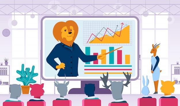 Dieren business coaching flat vector concept