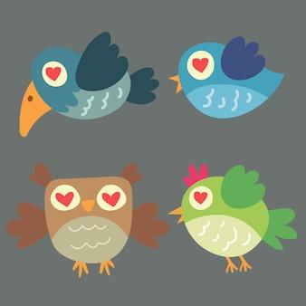 Dieren cartoon pictogrammen met vogel