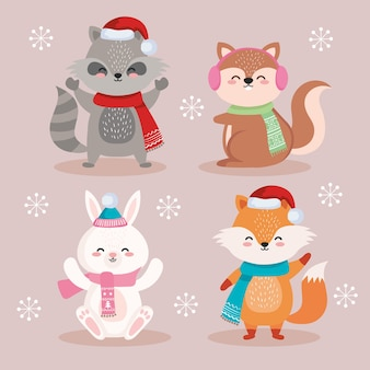 Dieren cartoons in vrolijk kerstseizoen ontwerp, winter en decoratie thema illustratie