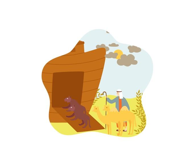 Dieren die aankomen bij noah ark bijbelverhaal geïsoleerd