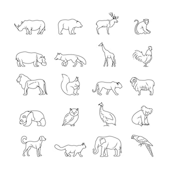 Dieren dunne lijn pictogrammen