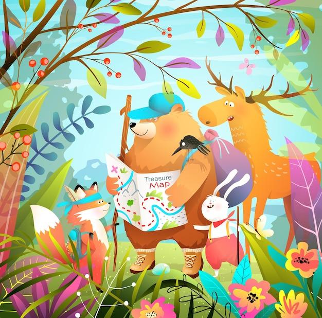 Dieren gaan wandelen en kamperen avonturen in het lommerrijke bos met schatkaart, kindercartoon. zomer natuur achtergrond, beer vos konijn en eland kijken naar de kaart. illustratie voor kinderen.