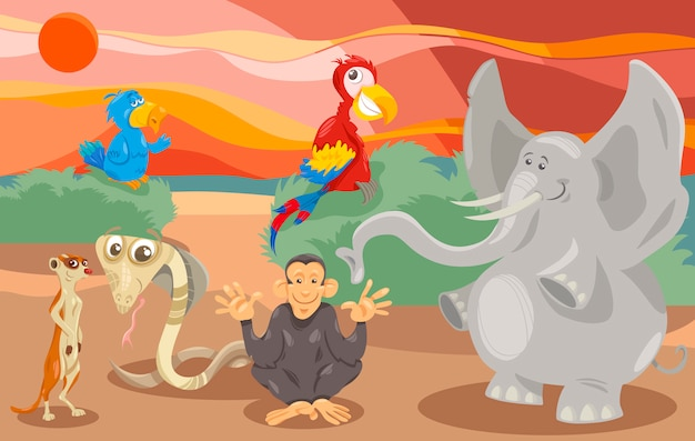 Dieren groep cartoon afbeelding