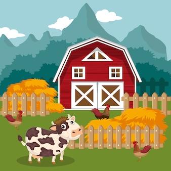 Dieren in de boerderijscène