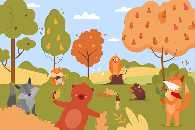 Dieren in de herfstaard, gelukkige wilde dierlijke stripfiguren in het bos