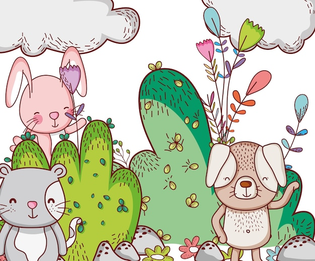 Dieren in het bos doodle cartoons