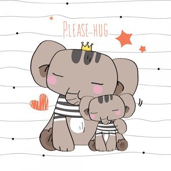 Dieren in het wild cute hand getrokken wilde dieren draag kostuum eenvoudige strepen gebaar blij gezicht glimlach in de liefde moeder kind van knuffel in naadloos patroon en illustratie