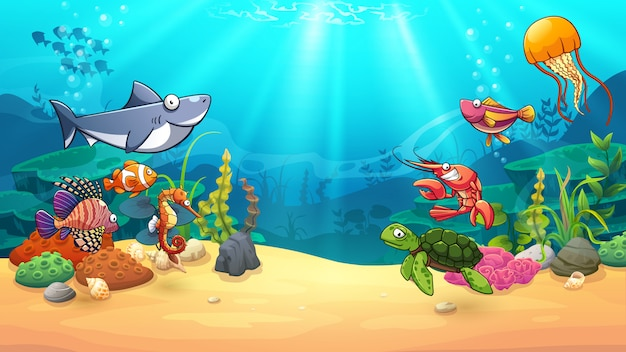 Dieren in onderwaterwereld