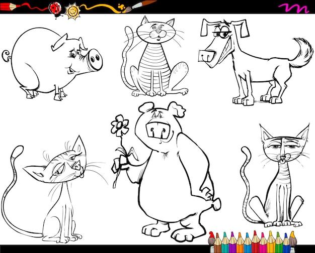 Dieren instellen cartoon kleurplaat