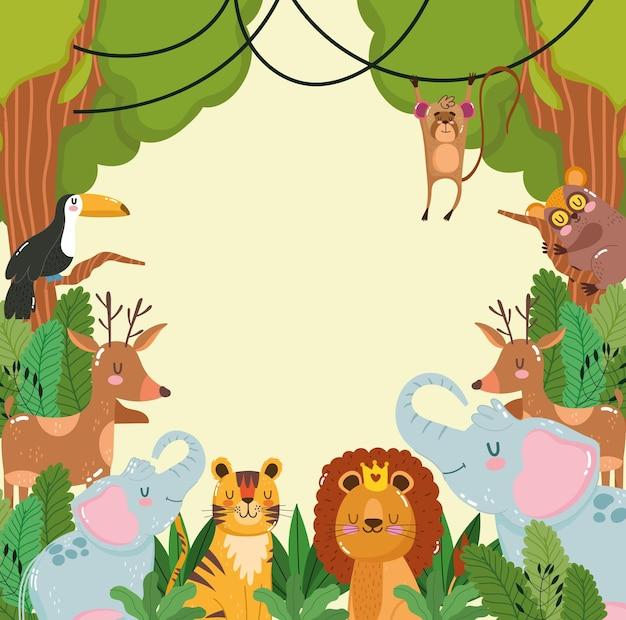 Dieren jungle dieren in het wild gebladerte natuur