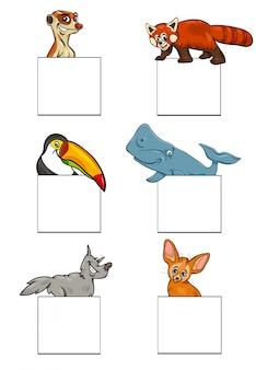 Dieren karakters met kaarten ontwerpset