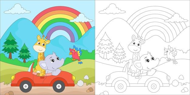 Dieren kleuren die in een auto rijden