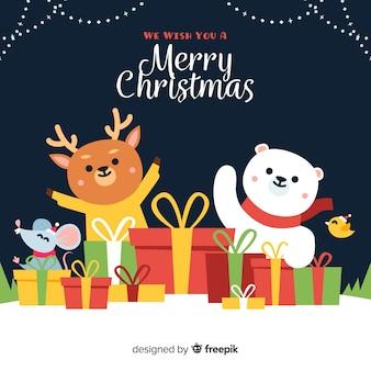 Dieren met geschenken kerst achtergrond