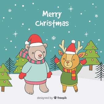 Dieren met kerstmishoed kerstmisachtergrond