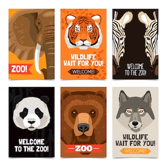 Dieren mini posters set