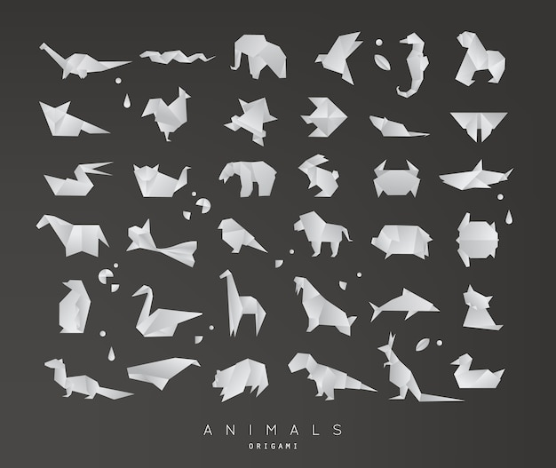 Dieren origami ingesteld