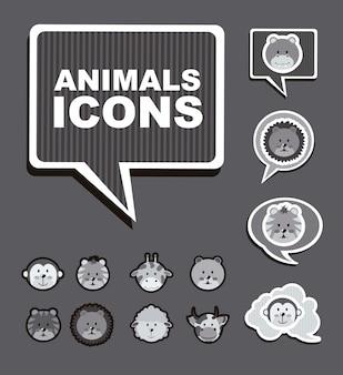 Dieren pictogrammen over grijze achtergrond vectorillustratie