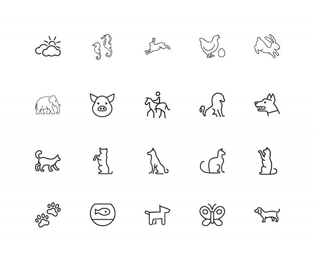 Dieren pictogrammen. set van twintig lijn pictogrammen. hond, olifant, vissenkom.