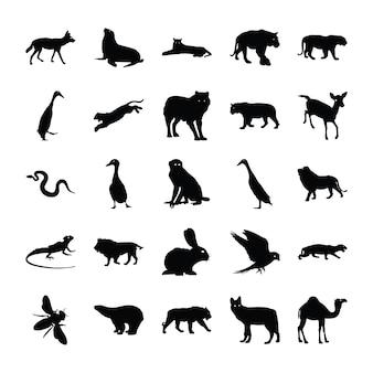 Dieren solide pictogrammen pack