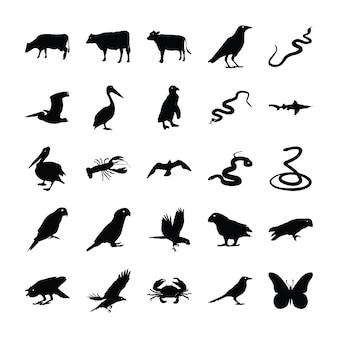 Dieren solide pictogrammenbundel
