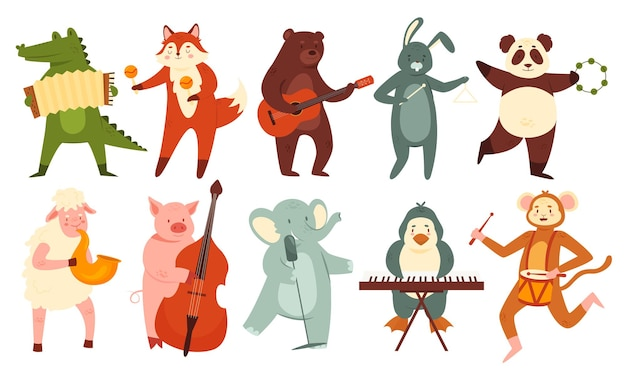Dieren spelen muziekset schattige orkestband van binnenlandse of wilde dierenmuzikanten die spelen