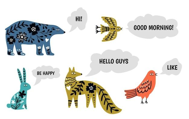 Dieren spreken. tekstballonnen en karakters in scandinavische stijl. tekst positieve berichten van bos vector set