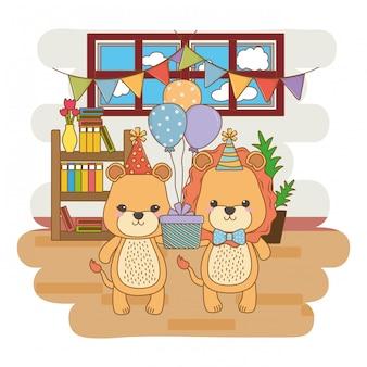 Dieren tekenfilms met gelukkige verjaardagscadeau