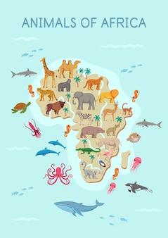 Dieren van afrika kaart