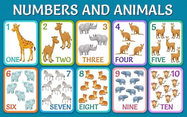 Dieren van savanne, woestijn. kaarten met getallen.