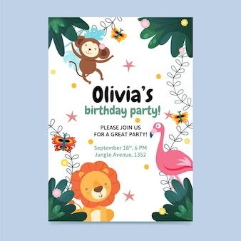 Dieren verjaardag uitnodiging sjabloon