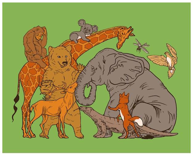 Dieren verzamelen zich in groep met vriendschap en liefde