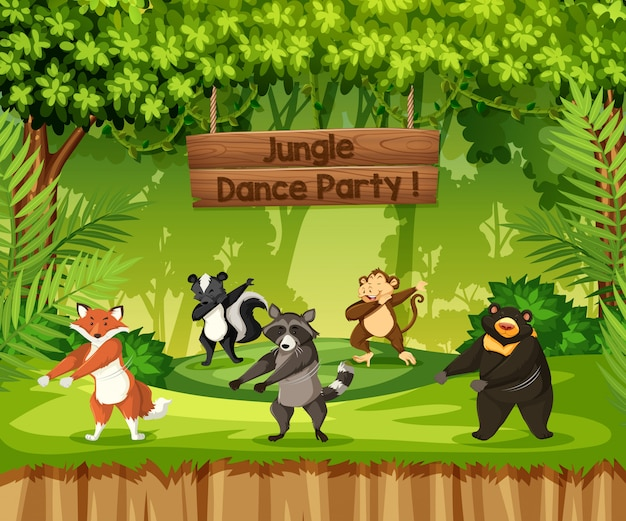 Dieren voeren jungle-dansfeest uit