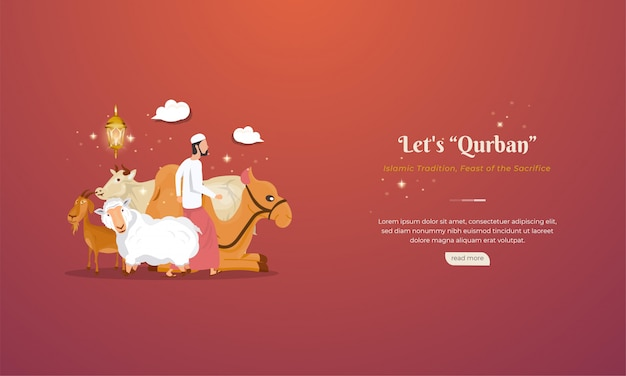 Dieren voor qurban of offerfeesten om de islamitische feestdag van eid al-adha te vieren