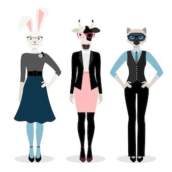 Dieren zakenvrouw. vrouwen in pak met konijntje, kat en koeien in roze geïsoleerde glazenhoofden