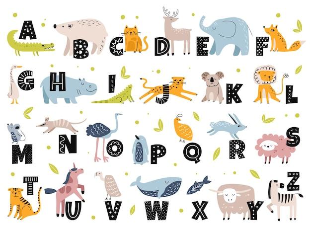 Dierenalfabet in scandinavische stijl schattige olifant vos beer eenhoorn tekenfilm dieren met letters