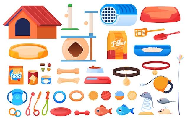 Dierenartikelen, kattenhokjes, een hondenhok, speelgoed voor dieren