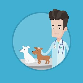 Dierenarts die honden vectorillustratie onderzoekt.